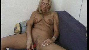Blonde substitutes cock for dildo [clip]