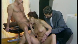 Guy watches as couple have sex