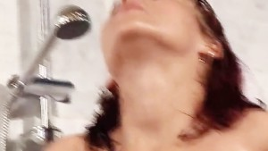 SUPER-HOT Brunette nailed in the Shower!