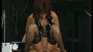 Riding cock in the bondage room