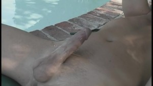 Hot couple bone by the pool