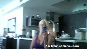 Ana Mancini in Purple Posing and flashing