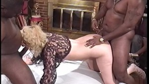 Black cocks fuck one slutty girl