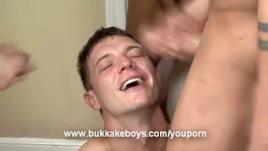 Hot boy gets his face drenched in cum!