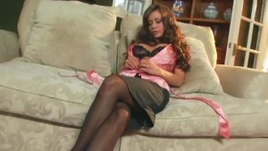 Crissy Moran tease in stockings a garter and heels
