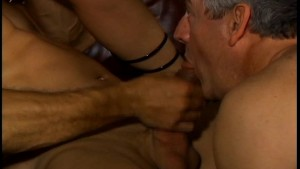 Older guy sucks his cock while he chows down on her snatch