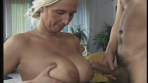 Adding some man juice to her breasts