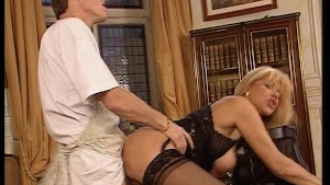 Hot blonde with big tits gets load on them