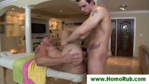 Straight guy fucking his gay masseuse
