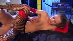Blonde fucking in crotchless pantyhose and gloves