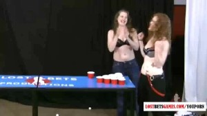 Playing balls with two naked girls
