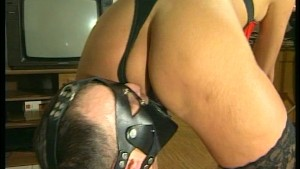 Kinky German sex with dildo on face