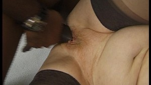 Fat old lady takes a black cock
