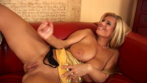 Lovely MILF Adele with gold dildo