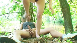 Brunette rides a dick in the woods