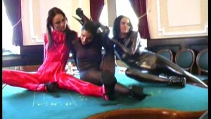 Crazy spandex babes in casino (clip)