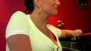 Busty brunette fucking inside the bar