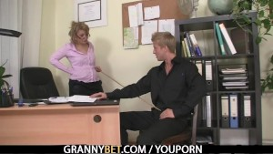 Mature office boss forces him