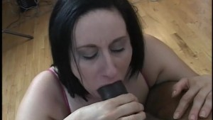 Horny BBW gets a big black cock in her mouth - Gentlemens Video