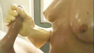 Handjob with Rubber Gloves on