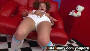 Curly agile teen girl home str