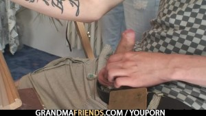 Two horny buddies fuck granny