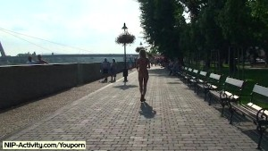 Spectacular public nudity with crazy babe laura
