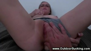 Glasses slut sucks cock