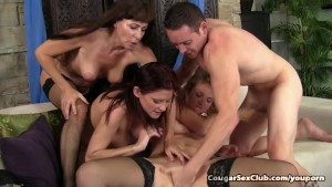 Horny Housewives Pounce On Younger Man s Cock