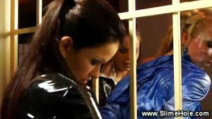 Euro sluts in strapon jail threesome