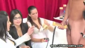 Horny ladies have fun with penis pump and their male contestant