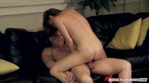 Stunning brunette wife Sara Stone rides her husband s hard cock