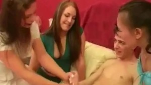 Three horny babes give hot handjob to very lucky guy