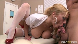 Slutty big-tit nurse Shyla Stylez fucks her boss at the office