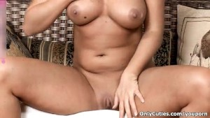 Horny blonde babe going crazy