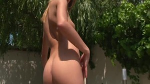 Hot babe fucking a big red dil
