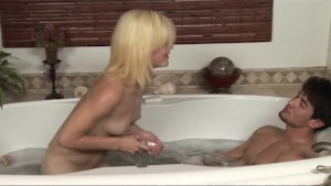 Skinny Blonde Showers and 69 s With a Lucky Stud