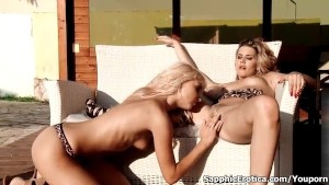 Blonde lesbian gets her cunt fingered and sucked by another horny blodne lesbian