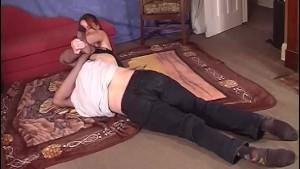 Dominant white lady wrestles w