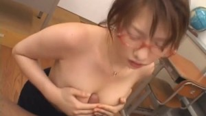Stacked Japanese Teacher sucks her student off