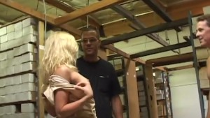 Dirty blond gets DP at work -