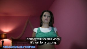 PublicAgent HD Huge Titted Brunette Falling for the Fake Movie Role