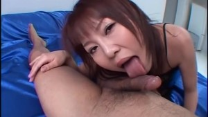 Asian girlfriend gives an awes