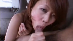 Asian sucks my cock while driv