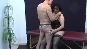 Old amateur couple home action