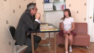 Tricky old teacher enjoys a shaved pussy of his teen student