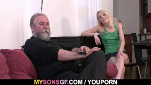 He leaves and she sucks his dad s cock