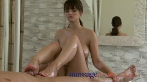 Massage Rooms Soft perfect feet and legs are worshiped before climax