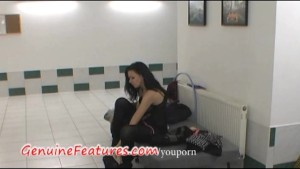 Backstage blow job and striptease by real hottie