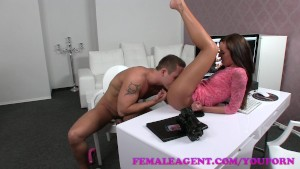 FemaleAgent Massive cumshot from seasoned veteran